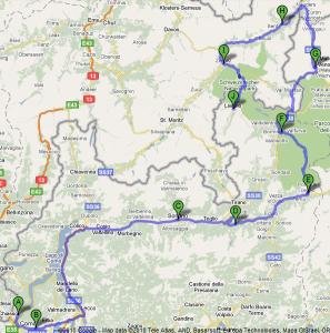 Mappa Gavia e Stelvio primo giorno