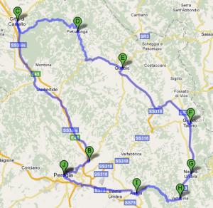 Mappa Umbria quinto giorno